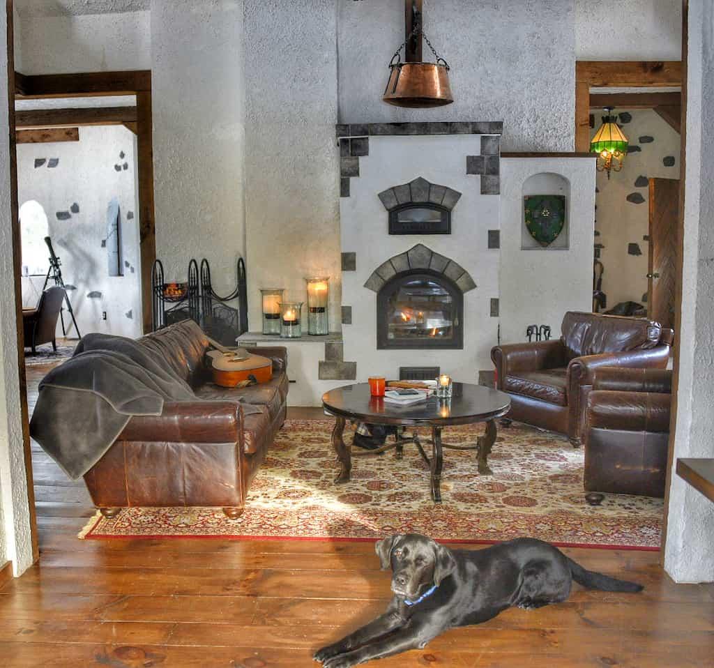 The main living area at Gregoire Castle in Irasburg, VT