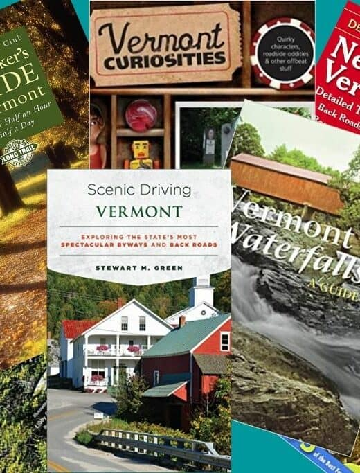 A collage of Vermont books.