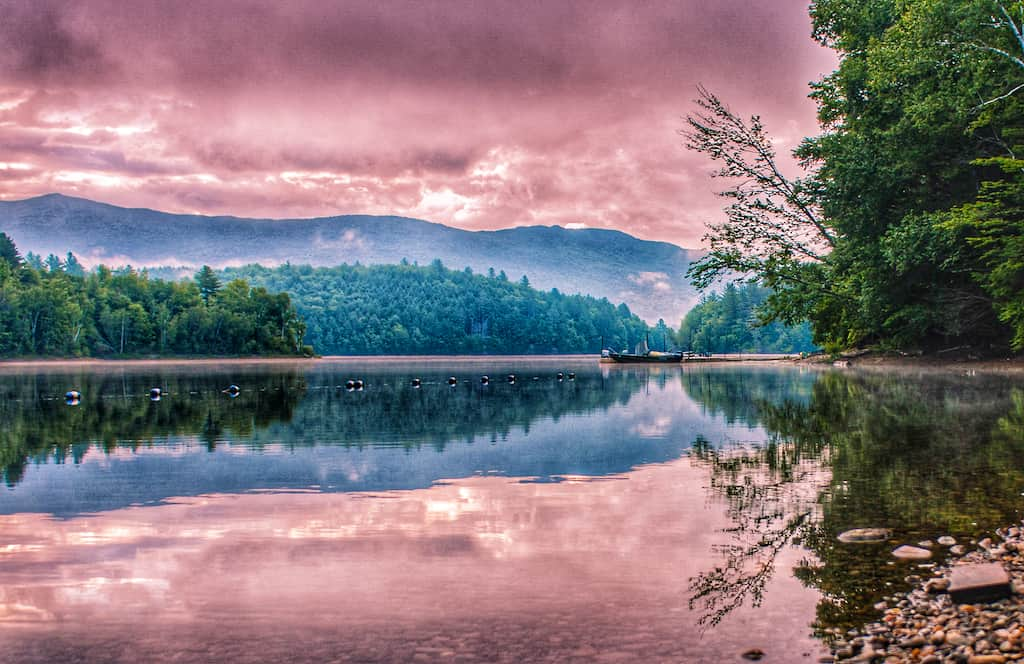 Sunrise over the mountains from Little River State Park in Waterbury, Vermont.