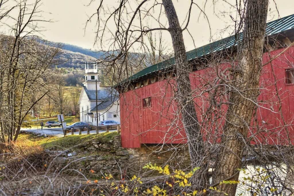 The Arlington Green Covered Bridge in Vermont.