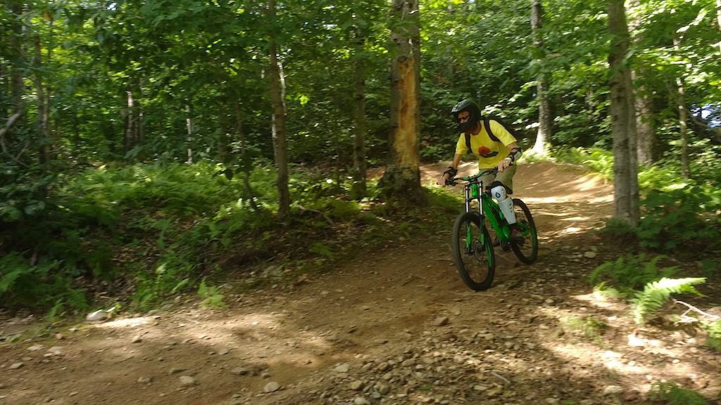 Riding the mountain bike trails at Mount Snow in Vermont.