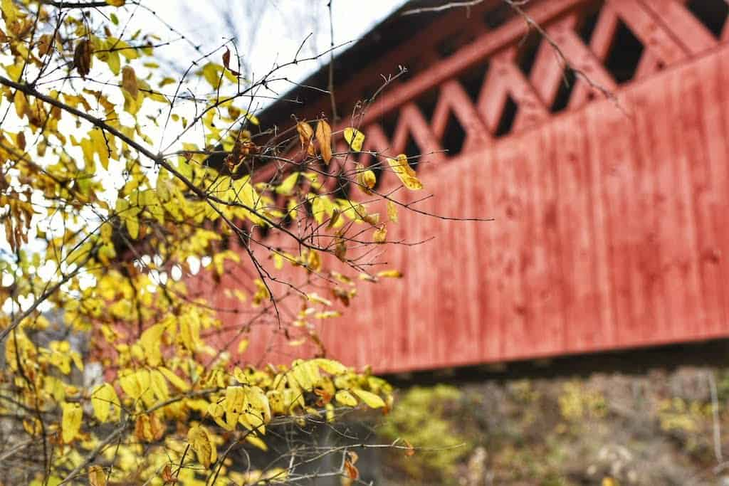 A side view of the Silk Road Covered Bridge in Bennington, Vermont.