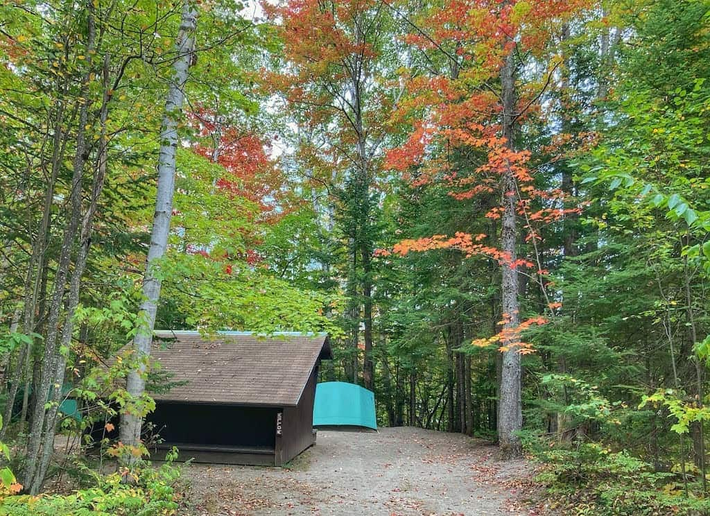 A lean-to in Brighton State Park, Vermont.