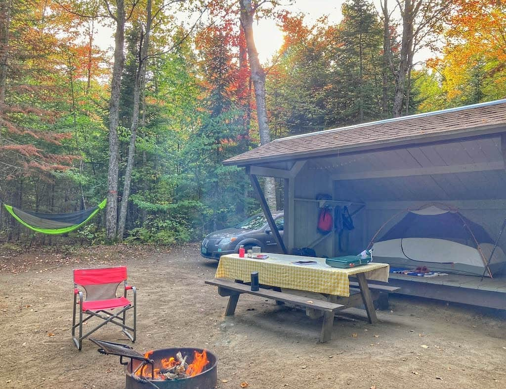 A lean-to camping site at Brighton State Park in Vermont.