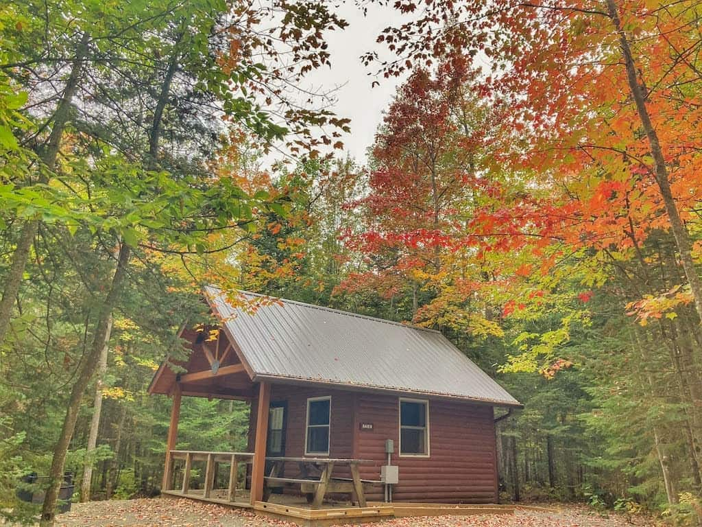 A Vermont State Park cabin for rent in Brighton State Park.