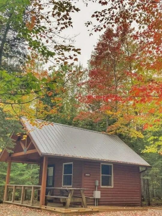 Raven cabin in the fall at Brighton State Park in Vermont.