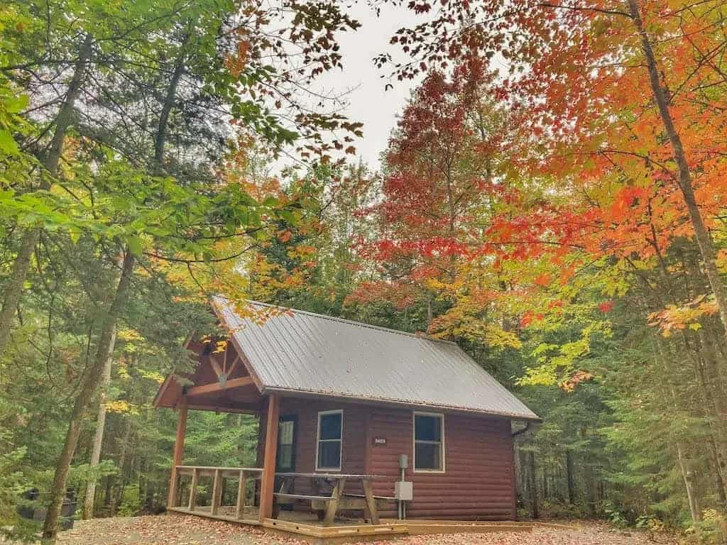 Raven cabin at Brighton State Park in Vermont.