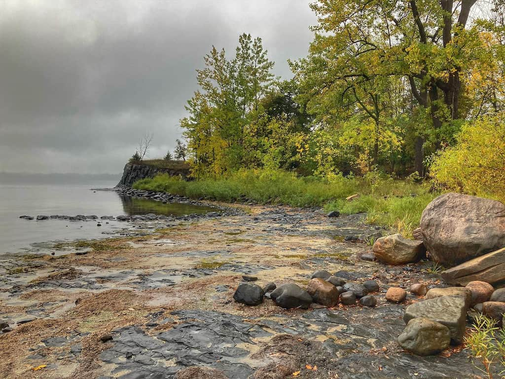 A cloudy fall view of the beach at Alburgh Dunes State Park in Vermont.
