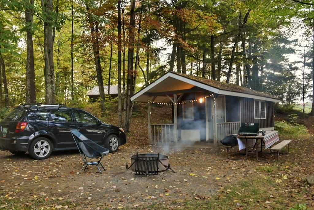 Cabin B at Lake Carmi State Park.