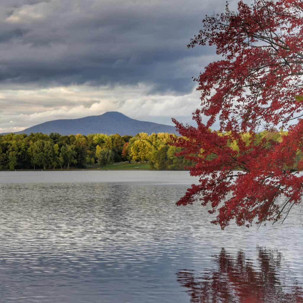 A fall foliage view of Jay Peak from Lake Carmi State Park.