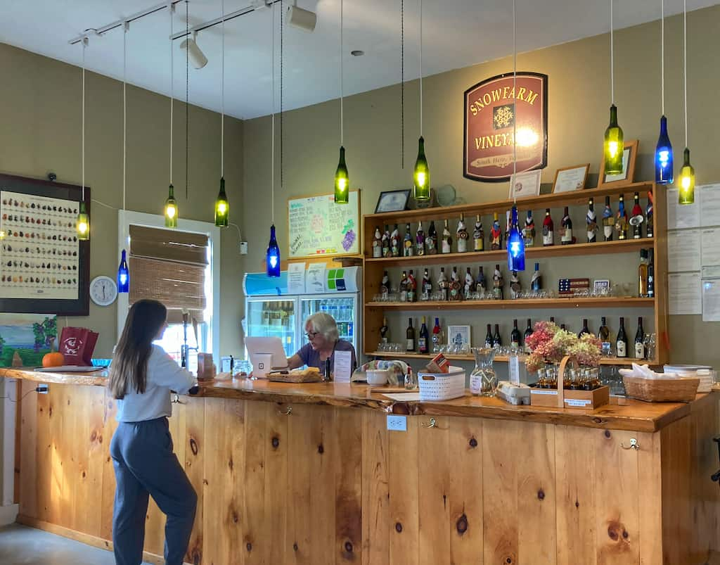 The inside of the tasting room at Snow Farm Winery in South Hero, Vermont.