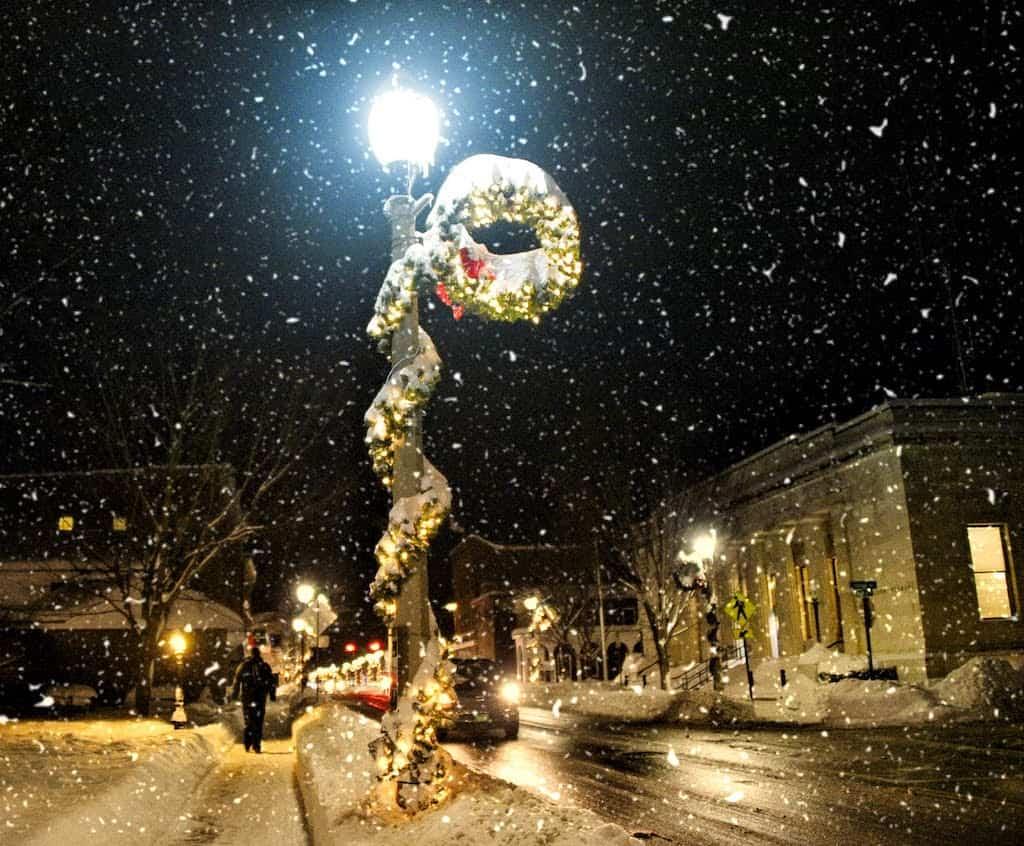 A snowy winter scene in downtown Bennington, Vermont